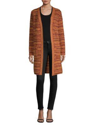 Metallic-Knit BouclÉ Long Jacket, Pink Gold