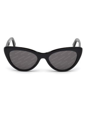 62b8299c0b01 Balenciaga 54Mm Cat Eye Black Acetate Logo Sunglasses