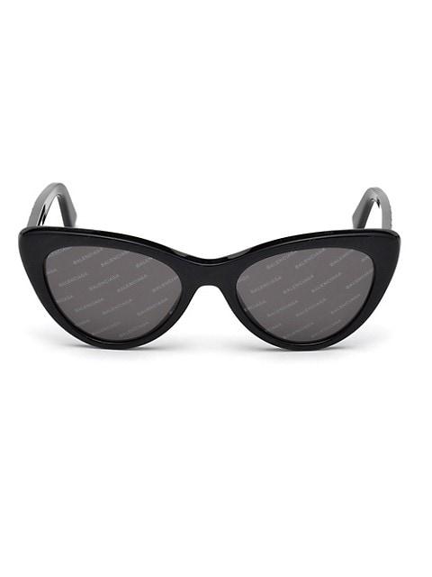 54MM Cat Eye Black Acetate Logo Sunglasses
