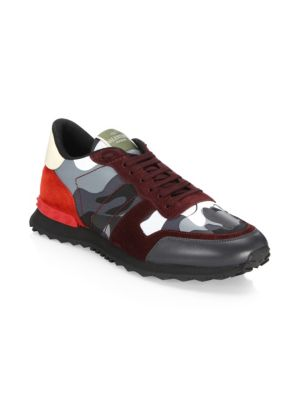VALENTINO Greyish Camouflage Sneakers With Burgundy Stitchings in Red