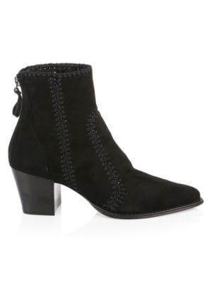 ALEXANDRE BIRMAN Suede Block-Heel Booties, Black