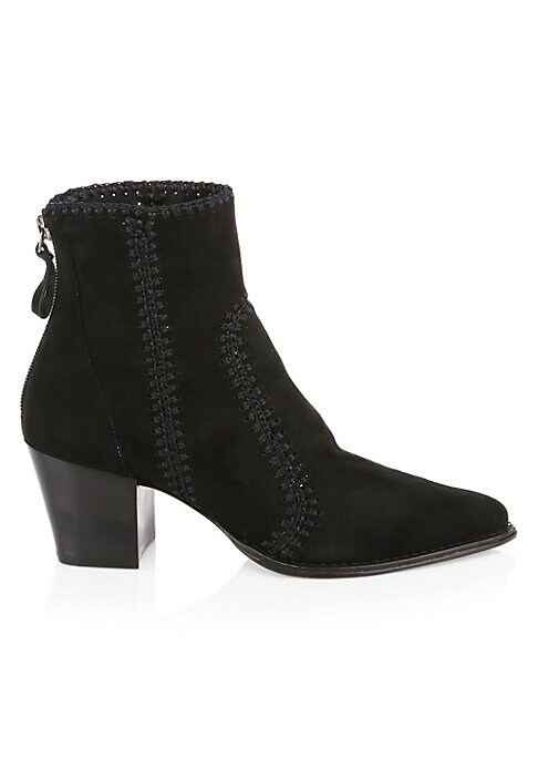 """Image of Chunky suede booties finished with top-stitch trim. Self-covered block heel, 2.36"""" (60mm).Suede upper. Point toe. Back zip closure. Leather lining and sole. Imported."""