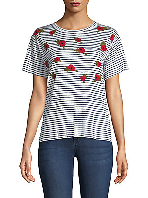 "Image of Embroidered poppies add a touch of elegance to classic stripe tee Roundneck Short sleeves Pullover style About 23"" from shoulder to hem Linen Hand wash Imported Model shown is 5'10"" (177cm) wearing US size Small. Contemporary Sp - Trend. Banner Day. Color"