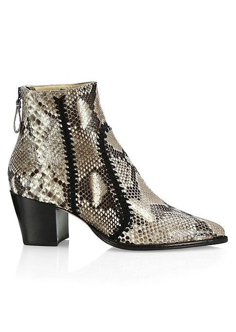 """Image of Crochet detailing enhances eye-catching python booties. Self-covered leather block heel, 2.25"""" (60mm).Dyed python upper. Point toe. Back zip closure. Kidskin leather lining. Leather sole. Imported."""