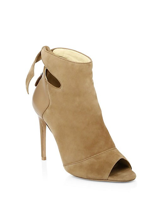 """Image of Cutouts add femininity to sophisticated suede booties. Self-covered heel, 4"""" (100mm).Suede and leather upper. Back zip. Open toe. Suede lining. Padded insole. Leather sole. Imported."""