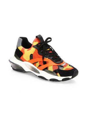 VALENTINO Garavani Bounce Mesh, Leather And Suede Sneakers, Deep Orange
