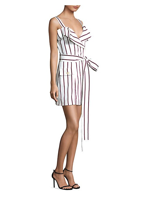 """Image of Belted cotton dress in bold striped print.V-neck. Sleeveless. Self-tie at waist. Front flap-button pockets. Pullover style. About 34"""" from shoulder to hem. Cotton/viscose. Dry clean. Imported. Model shown is 5'10"""" (177cm) wearing US size Small."""