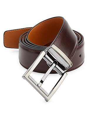 """Image of ONLY AT SAKS. Adjustable belt crafted from burnished leather. Leather Silvertone buckle Made in Spain SIZE Width, about 1.25"""". Mens Pvt Brands - Sfamc Accessories. Saks Fifth Avenue. Color: Burgundy."""