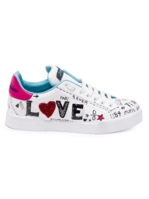 Dolce And Gabbana White Embroidered Love Sneakers, Multi