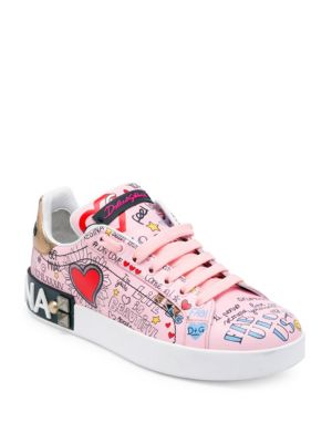 Dolce E Gabbana Women'S Ck1544Au902Hep52 Pink Leather Sneakers, Multi