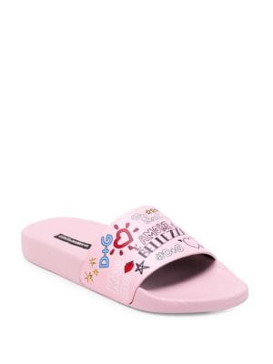 Printed Calfskin And Rubber Sliders, Pink