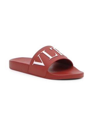 Men'S Vltn Logo-Embossed Pool Slide Sandal, Red White