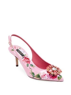 Crystal-Embellished Floral-Print Patent-Leather Slingback Pumps, Multi