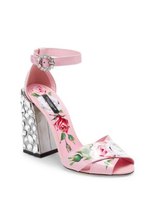 Printed Patent Leather Sandals With Embroidered Heel in Pink
