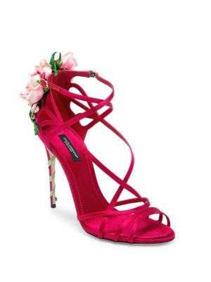 Jeweled Satin Sandal With Rose Heel, Red