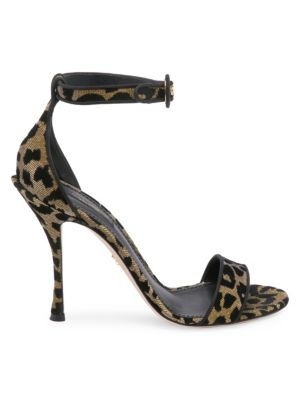 Leopard Lurex Ankle Strap Sandals Leopard in Leopard Print from Marissa Collections
