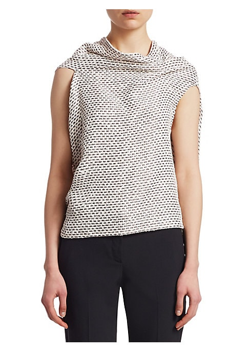 """Image of Showcasing the designer's mastery of draping, this richly textured knit sweater features a cowl neckline that falls elegantly to an open back. Draped neck. Sleeveless. Ties at back. Wool. Dry clean. Imported. SIZE & FIT. About 23.5"""" from shoulder to hem."""