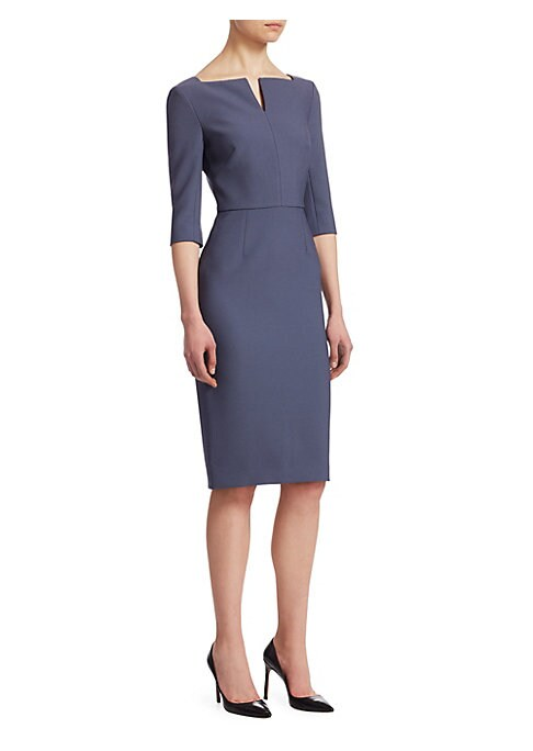 Image of Designed with structured tailoring, this sheath dress is made with a hint of stretch for the perfect fit. The top-to-bottom back zipper is exposed for a contemporary twist. Squareneck with V-cutout. Elbow-length sleeves. Back zip closure. Lined. Polyester