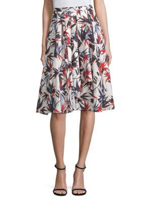 A-Line Floral-Print Knee-Length Cotton Skirt, Chalk