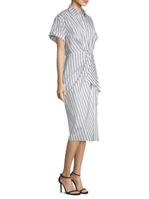 Short-Sleeve Stripe Cotton Poplin Shirtdress, Chalk