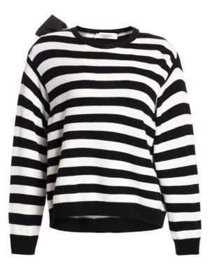 Wrap-Effect Bow-Embellished Striped Cashmere Sweater, Black Ivory