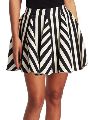 Re-Edition Organza Stripes Short Skirt, Ivory Black