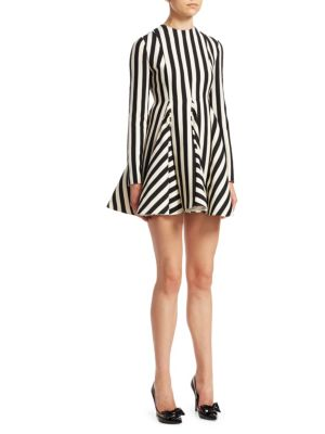 Re-Edition Jewel-Neck Long-Sleeve Striped Fit-And-Flare Dress, Ivory-Black