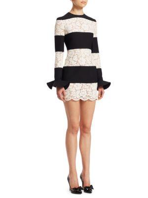 Valentino Silks Lace Inset Striped Dress