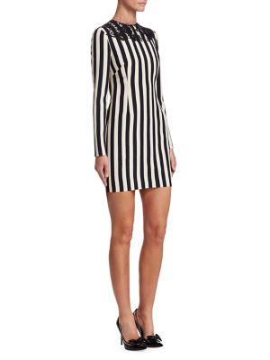 Striped Lace Appliqué Bodycon Dress in Black