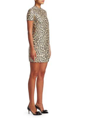 Jewel-Neck Short-Sleeve Metallic Leopard-Brocade A-Line Dress, Wild Leopard