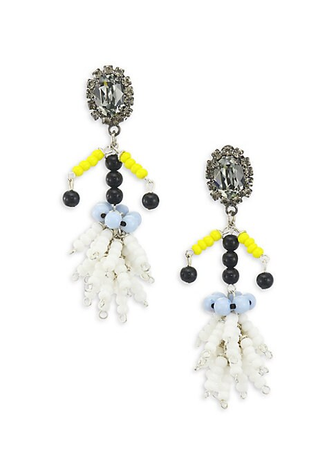 """Image of Beaded drop earrings with large sparkling crystal. Resin. Drop, 2.5"""".Clip-on. Made in Italy."""