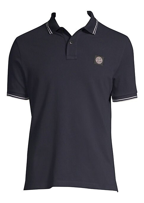 Image of Tailored stretch cotton polo with chest logo and stripe trim. Spread polo collar. Short sleeves. Two-button placket. Embroidered logo. Cotton/elastane. Machine wash. Imported.