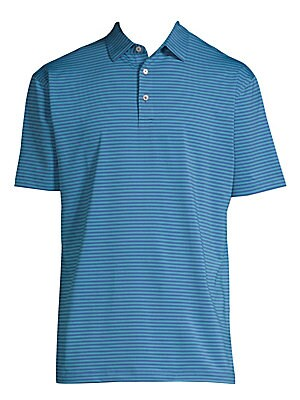 Image of Classic polo shirt with two-button polo collar in stripe print Spread polo collar Three-button closure Short sleeves Split hem Polyester/spandex Machine wash Imported. Men's Active - Active Lifestyle. Peter Millar. Color: Plaza Blue. Size: Small.
