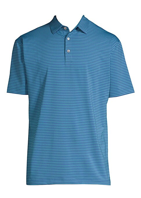 Image of Classic polo shirt with two-button polo collar in stripe print. Spread polo collar. Three-button closure. Short sleeves. Split hem. Polyester/spandex. Machine wash. Imported.