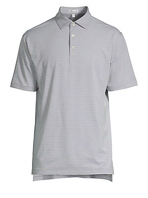 "Image of From the Crown Sport Collection Classic polo shirt with three-button polo collar in stripe print Spread polo collar Three-button placket Short sleeves Split hem Pullover style About 29.75"" from shoulder to hem Polyester/spandex Machine wash Imported. Men'"