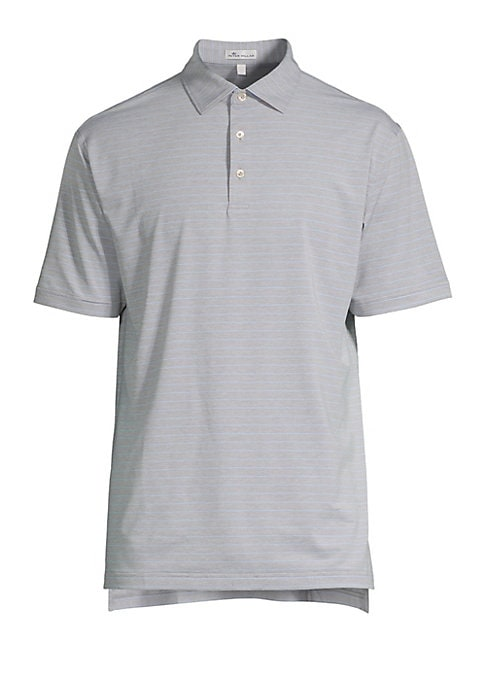 "Image of From the Crown Sport Collection. Classic polo shirt with three-button polo collar in stripe print. Spread polo collar. Three-button placket. Short sleeves. Split hem. Pullover style. About 29.75"" from shoulder to hem. Polyester/spandex. Machine wash. Impo"