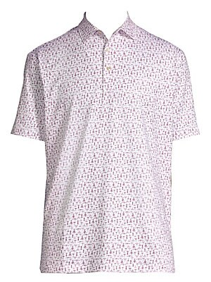 Image of Classic stretch polo shirt with two-button polo collar in corkscrew print Spread polo collar Two-button closure Short sleeves Split hem Polyester/spandex Machine wash Imported. Men's Active - Active Lifestyle. Peter Millar. Color: White. Size: Large.
