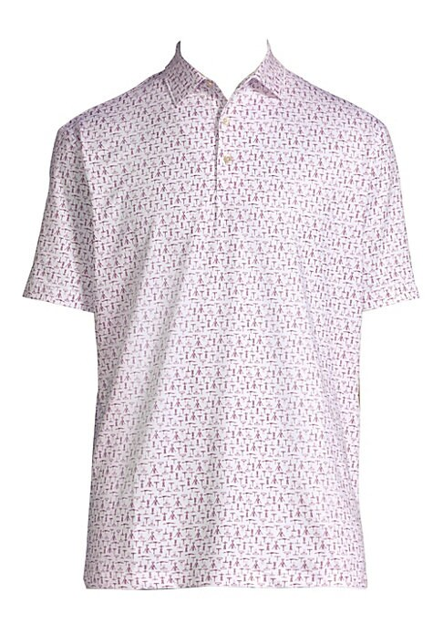 Image of Classic stretch polo shirt with two-button polo collar in corkscrew print. Spread polo collar. Two-button closure. Short sleeves. Split hem. Polyester/spandex. Machine wash. Imported.