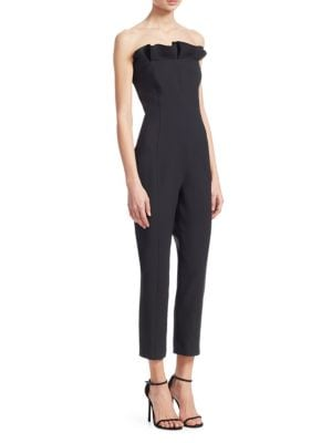 Alicia Strapless Ruffle Jumpsuit, Black