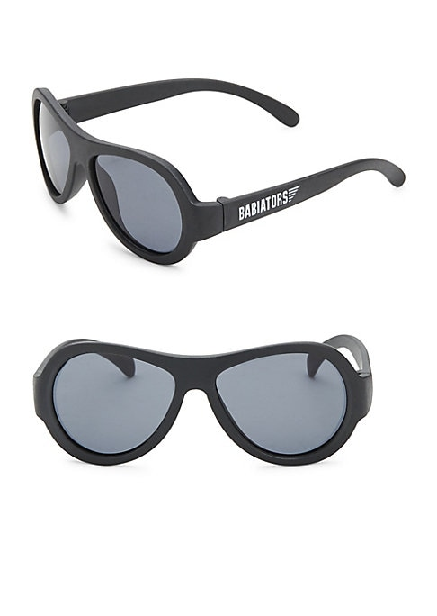 """Image of Aviator sunglasses with side logo accent. 105mm lens width; 45mm bridge width; 25mm temple length. Impact & shatter resistant lenses.100% UV protection. 4.75""""L x 1.25""""W x 1.75""""H. 100% Thermoplastic rubber lenses. Polycarbonate. Spot clean. Imported."""