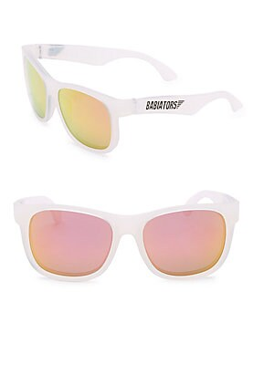 """Image of Mirrored navigator sunglasses with logo detail 100mm lens width; 45mm bridge width; 18mm temple length Impact & shatter resistant lenses 100% UV protection 4.75""""L x 1.25""""W x 1.75""""H 100% Thermoplastic rubber lenses Polycarbonate Spot clean Imported. Childr"""