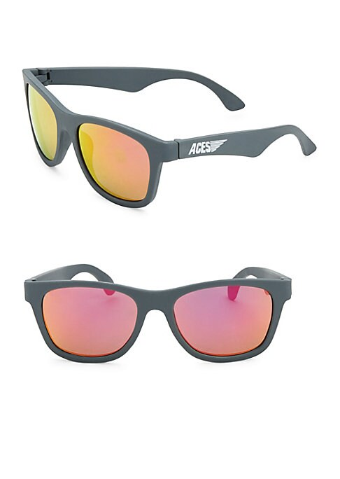 """Image of Mirrored sunglasses with side logo accent. 120mm lens width; 50mm bridge width; 25mm temple length. Impact & shatter resistant lenses.100% UV protection. Case included. For ages 6 and up. 7""""L x 1.5""""W x 2""""H. 100% Thermoplastic rubber lenses. Polycarbonate."""