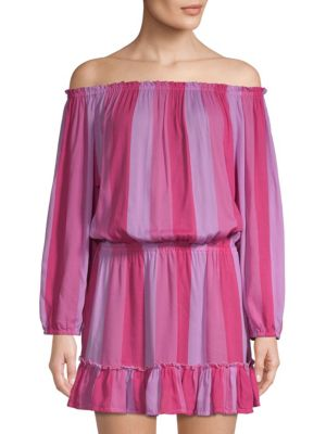 COOLCHANGE Madelyn Off-The-Shoulder Tunic Dress in Candy