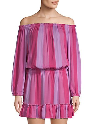 """Image of A dress gets an injection of whimsy thanks to bold, colorful stripes Off-the-shoulder neckline Long sleeves with elasticized cuffs Elasticized drop waist Pull-on style Ruffle hem About 29"""" from shoulder to hem Rayon Hand wash Imported Model shown is 5'10"""""""