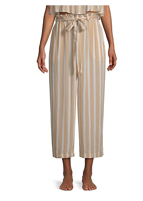 """Image of A paper bag waist accentuates these breezy striped culottes. Belt loops with attached belt. Elasticized waist. Side slash pockets. Pull-on style. Rise, about 12"""".Inseam, about 34"""".Rayon. Hand wash. Imported. Model shown is 5'10"""" (177cm) wearing US size Sm"""