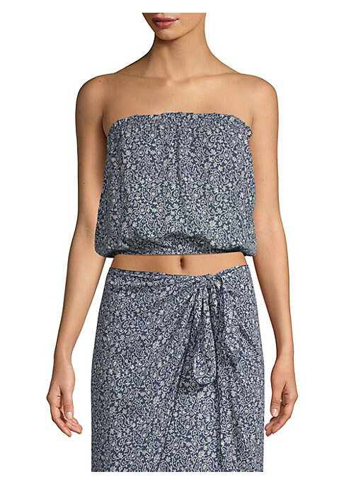 """Image of A batik-style print elevates a crop top in a bubble silhouette. Strapless neckline. Sleeveless. Pull-on style with elasticized hems. About 13"""" from shoulder to hem. Rayon. Hand wash. Imported. Model shown is 5'10"""" (177cm) wearing size Small."""