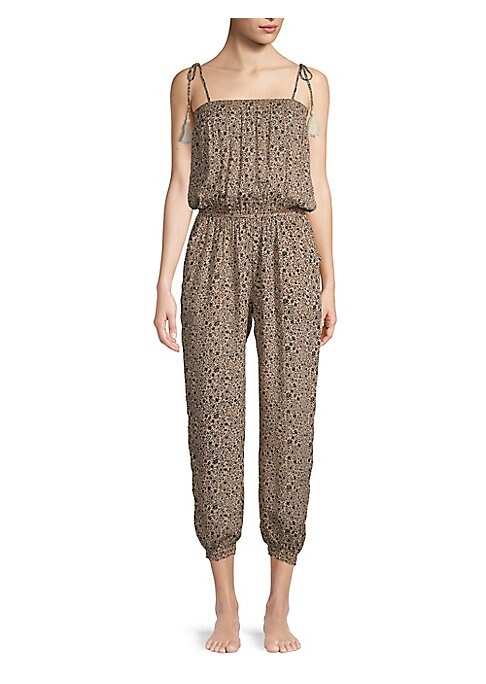 """Image of Boho illustrations accentuate self-tie shoulder tassel details. Squareneck. Sleeveless. Self-tie tassel shoulder straps. Elasticized waist. Elasticized leg openings. Inseam, about 28"""".About 55"""" from shoulder to hem. Rayon. Hand wash. Imported. Model shown"""