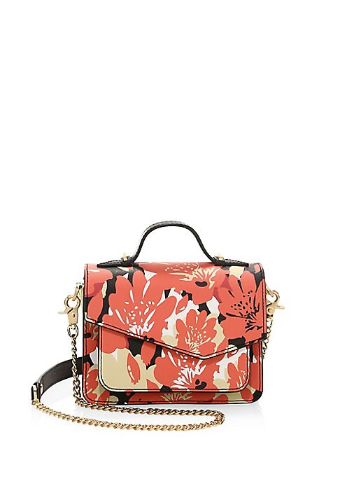 "Image of Chain accented leather mini bag with floral design. Top handle, 1.5"" drop. Removable chain shoulder strap, 20"" drop. Snap flap closure. One interior slip pocket. Two interior compartments. Interior card slots.8""W x 6.5""H x 2.5""D.Leather. Imported."
