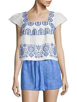 7a435a3898 Milly. Linen Flutter Sleeve Dress