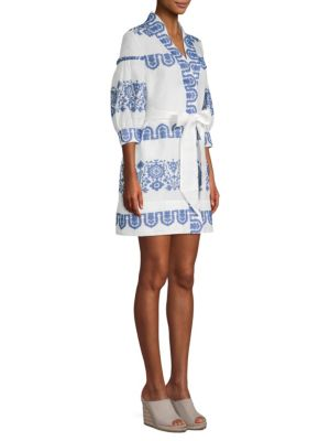 Mykonos Embroidered Tie Waist Linen Dress, Cobalt
